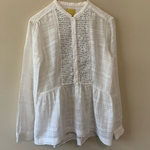 Anthropologie Maeve white L/S sequined shirt sz 6